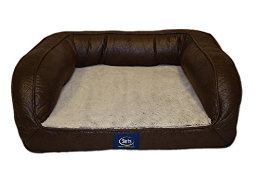 Serta Ortho Quilted Couch Pet Bed, Large, Blue