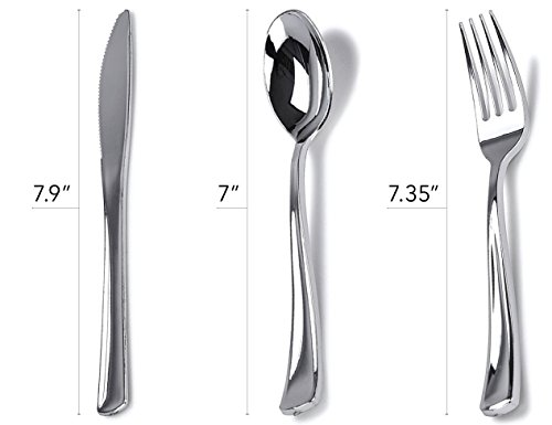 Stock Your Home 125 Disposable Heavy Duty Silver Plastic Forks, Fancy Plastic Silverware Looks Like Silver Cutlery - Utensils Perfect for Catering Events, Restaurants, Parties and Weddings by Stock Your Home (Image #5)