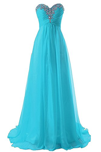 JAEDEN Prom Dress Bridesmaid Dresses Long Chiffon Formal Evening Gown A line Blue US2