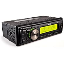 Pyle Marine Stereo Headunit Receiver - 12v Single DIN Style Digital Boat In dash Radio System with MP3, USB, SD, AUX, RCA, AM FM Radio - Includes Remote Control, Power Wiring Harness - PLMR86B (Black)