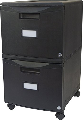 Storex 2-Drawer Mobile File Cabinet with Lock, 18.25 x 14.75 x 26 Inches, Legal/Letter, All Black - File Mobile 2 Drawer Cabinet