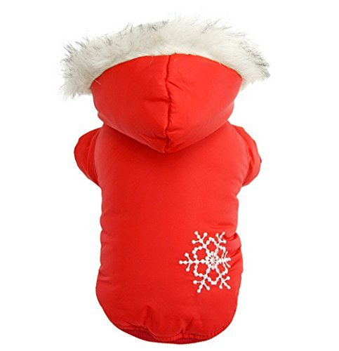 PETLOVE Reversible Small Dog Winter Coat Snowflake Jacket Removable Hood Puppy Pet Clothes Windproof Red S by LOVEPET