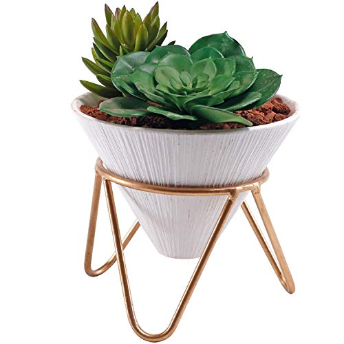 - 6 inch Modern Design White Ceramic Cone Shape Succulent Planter Pot with Brass Base Stand