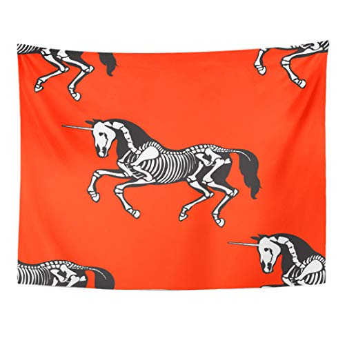 Emvency Tapestry Artwork Wall Hanging Horse Skeleton of Unicorn on Red Great for for Tattoos and More Halloween and The 60x80 Inches Tapestries Mattress Tablecloth Curtain Home Decor Print]()