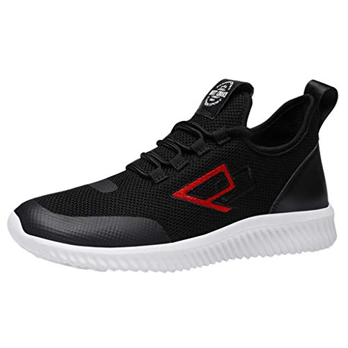 Effulow Womens Mens Lightweight Walking Sports Shoes Workout Breathable Slip Running Sneakerss Black
