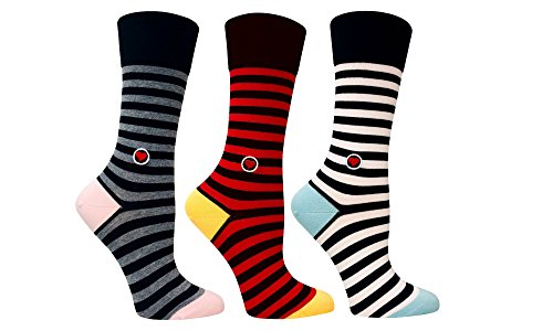 3 Pack organic cotton crew trouser striped socks for women - Black, white, grey and red stripes