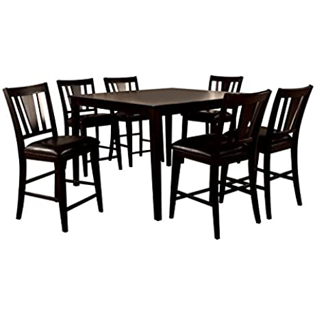 HOMES Inside Out IDF 3325PT 7PC SET Cornelius 7 Piece Counter Height Table Set Espresso