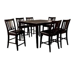 HOMES: Inside + Out IDF-3325PT 7PC Set Cornelius 7 Piece Counter Height Table Set, Espresso