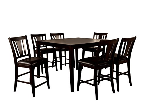 HOMES: Inside + Out IDF-3325PT 7PC SET Cornelius 7 Piece Counter Height Table Set, Espresso