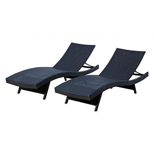 Abbyson Living Redondo Chaise Lounge, Black (Set of 2)