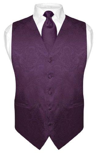 Vesuvio Napoli Men's Paisley Design Dress Vest & NeckTie DARK PURPLE Color Neck Tie Set sz S]()