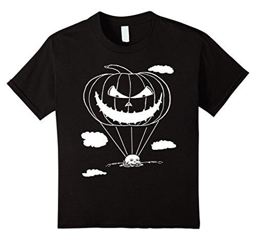 Kids Halloween Pumpkin Skydiving T-shirt (stainless image) 4 Black