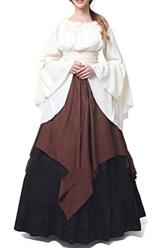 Renaissance Fancy Dress (XQS Women Renaissance Medieval Costume Dress Gothic Victorian Fancy Dresses one US 2XL)