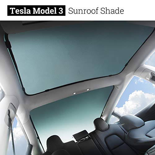 (BMZX Model 3 Car Sunroof Glass Shade Foldable Sunshade Heat Isolate Sunshade Sun Shade(Rear Sunroof & Middle Sunroof) 2PCS)