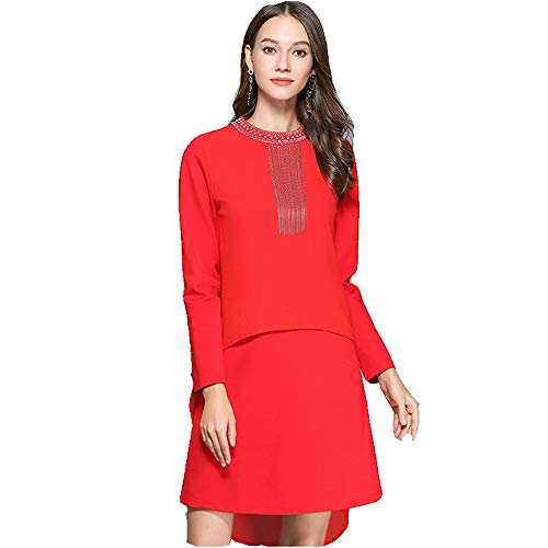 A Nappa Per line La Evening Donna Ladies Da Perline Cocktail Dress Manica Lunga Asimmetrico O Sera Fancy Altalena collo Formale Del Party Vintage Abito Rosso Wedding p7qzxCRnwn