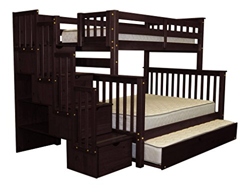 Cheap Bedz King Stairway Bunk Beds Twin over Full with 4 Drawers in the Steps and a Twin Trundle, Cappuccino