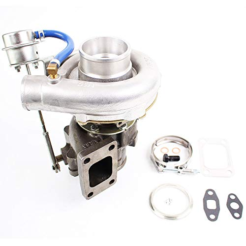 (T3/T4 T04E Turbo Turbocharger .63 A/R .5A/R Internal Wastegate V-BAND T3 T4 To4E 4 Bolt Flange for all 2.0-3.5L Engines Oil Cooled Up to 420HP Universal Turbocharger & Gaskets)