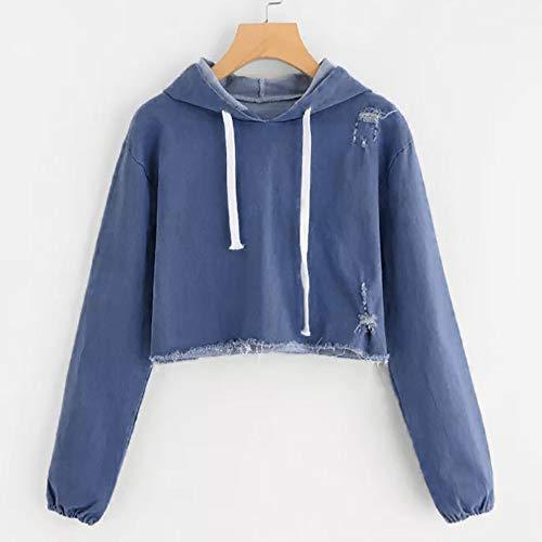 Casual Blue Long Shirts Women Blouse Sleeve Sweatshirt Pullover Denim Morwind 1zO5cqgwq