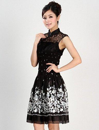 PU&PU Robe Aux femmes Grandes Tailles Vintage / Décontracté , Imprimé Mao Mi-long Coton / Dentelle , black-m , black-m