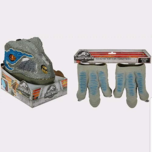 New Jurassic World Velociraptor Blue Chomp N Roar Mask Open Jaw Slowly and It Growls and Then Hisses Ages 6+ & Velociraptor Blue Claws One Size Fits Most! Ages 3+ New -
