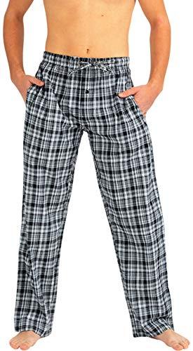 NORTY - Mens Woven Poplin Plaid Sleep Lounge Pajama Pant, Black, White ()