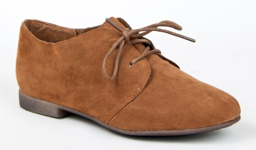 Breckelle's SANDY-31 Basic Classic Lace Up Flat Oxford Shoe,7 B(M) US,Tan-31,7 B(M) US