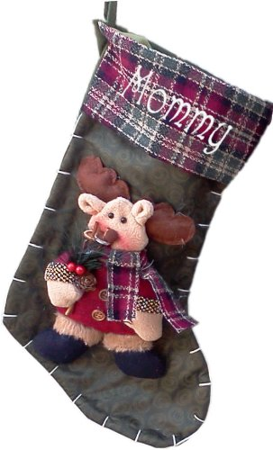 personalized rustic moose christmas stocking - Moose Christmas Stocking