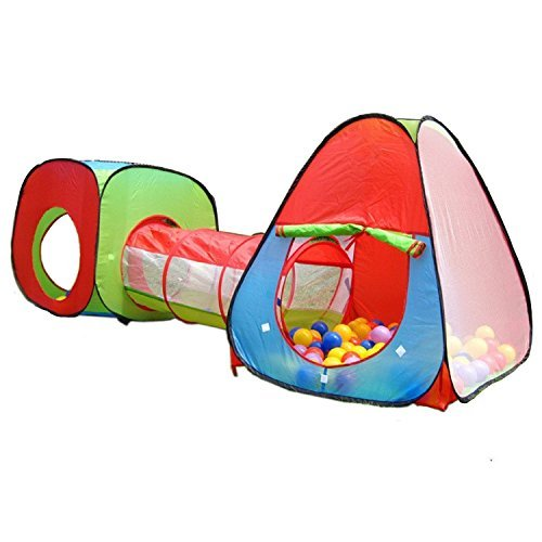 DOLAIMI One Square Cubby-One Triangle Cubby-One Tunnel 3 in 1 Children's Playhouse Playground, Play Tent House and Tube for Kids Toddlers Great for Fun Indoor and Outdoor(Balls Not Included) by DOLAIMI