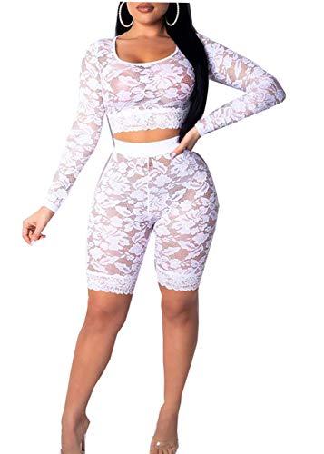 (Women Hollow Long Sleeve Transparent Mesh Fishnet Crop Top Bodycon Shorts Set Bikini Cover Up Lingerie Set (White(Lace), L))