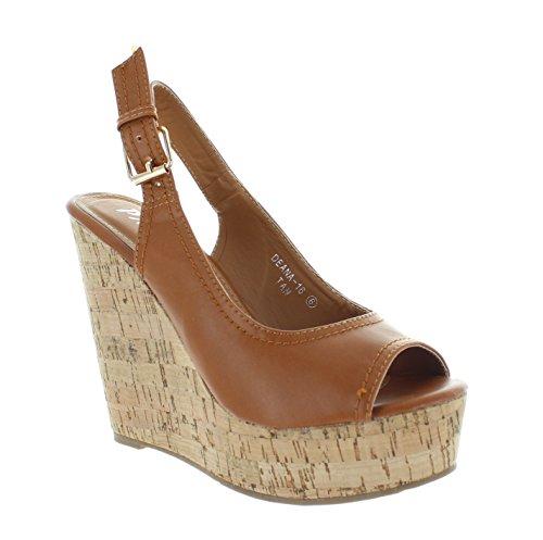 Urban Heels Women's Tan Peep Toe Platform Wedge 10 US ()