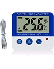 Decoe Digital Fridge Thermometer with Alarm and Max Min Temperature Easy to Read LCD Display Digital Refrigerator Freezer Thermometer for Indoor Outdoor