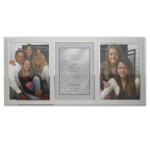 (Lawrence Frames 2-Tone Triple Opening Panel Picture Frame, 5 by 7-Inch, Brushed Silver Metal and Shiny Metal)