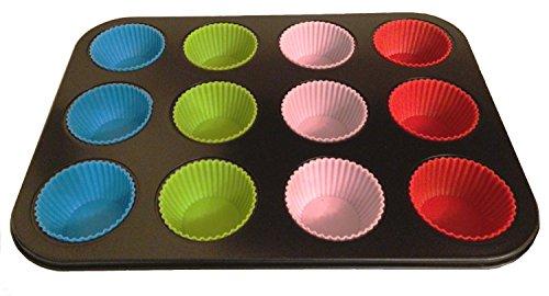 2in1 Set - Muffin Backblech + 12 Stück Silikon Muffiinform Muffinbackform Backform Törtchen Form Mini-Kuchen