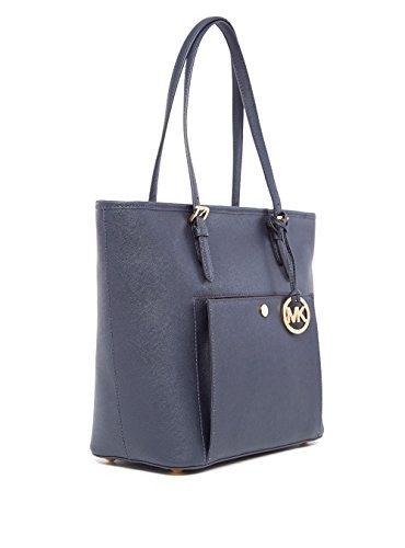 MICHAEL Michael Kors Jet Set Item Large Top Zip Snap Pocket Tote Admiral Blue Tote Top Zip Handbag