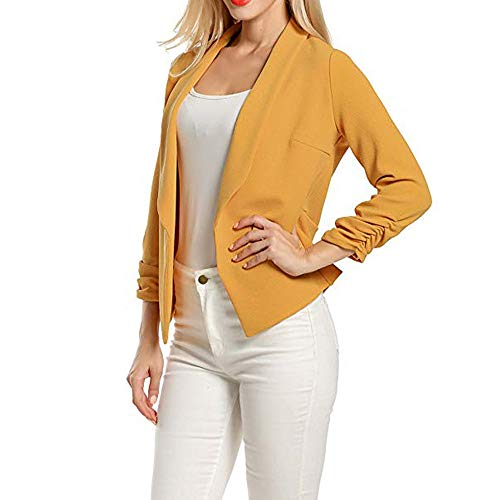 GOVOW 3/4 Sleeve Blazer for Women Clearance Sale Open Front Short Cardigan Suit Jacket Work Office Coat(US:10/CN:M,ZZ-Yellow ) -
