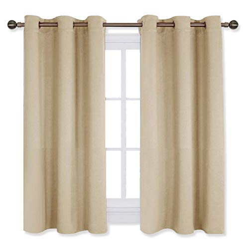 NICETOWN Room Darkening Draperies Window Curtain Panels, Thermal Insulated Grommet Room Darkening Curtains for Bedroom (Cream Beige, 2 Panels, W42 x L54 (Beige Window Curtain)