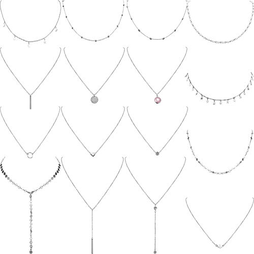 - Yaomiao 16 Pieces Layered Choker Necklace Adjustable Pendant Necklace Moon Sequins Choker Multilayer Chain Necklace Set for Women Girls (Silver)