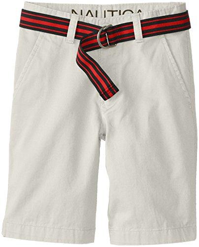 Nautica Big Boys' Belted Flat Front Short, Light Smoke, 12