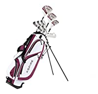 Aspire X1 Ladies Womens Complete Golf Club Set Includes Driver, Fairway, Hybrid, 6-PW Irons, Putter, Stand Bag, 3 H/C's Purple - Regular or Petite Size!