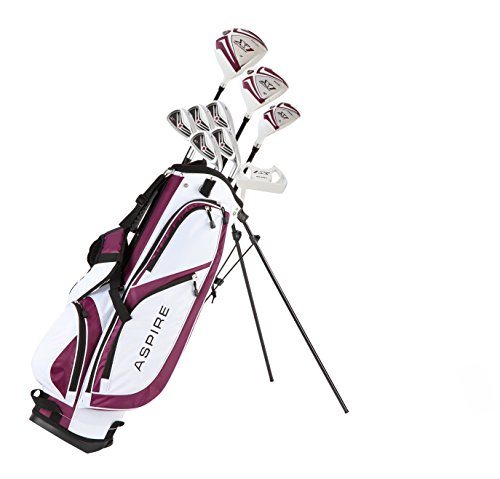 Aspire X1 Ladies Womens Complete Golf Club Set Includes Driver, Fairway, Hybrid, 6-PW Irons, Putter, Stand Bag, 3 H C s Purple – Regular or Petite Size