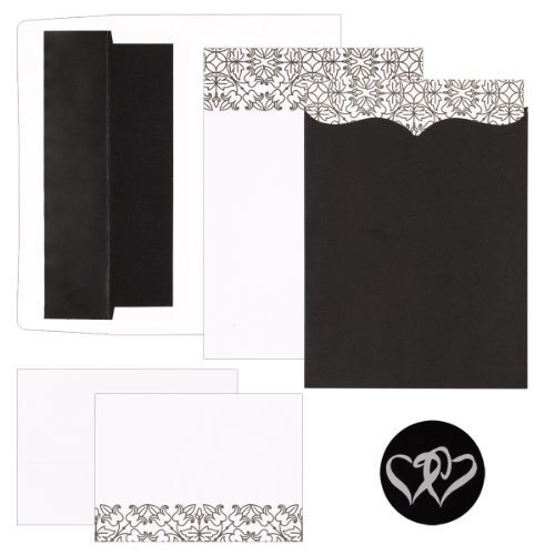 Hortense B. Hewitt Wedding Accessories Print Yourself Invitation Kit, Scroll Pattern And Pocket, Pack of 25