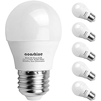 Aooshine Di Globe 40 4 Watt Soft White 2700K LED Bulb, E26 Medium Screw Base 400 Lumens A15/G45 Shape Decorative Edison Home Lighting Non-Dimmable (Pack of ...