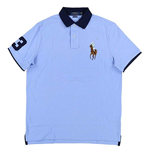 Polo Ralph Lauren Mens Classic Fit Big Colored Pony Polo Shirt (Large, Soft Blue) (Ralph Lauren Grün Polo)