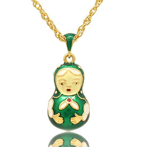 Enamel Egg Pendant - MYD Jewelry Enamel Matryoshka Nesting Doll Easter Egg Pendant Necklace (green)
