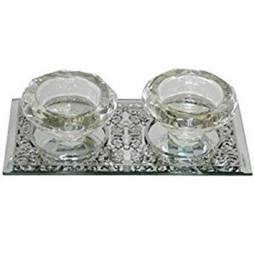 Art Judaica Elegant Crystal Candlesticks on a Metal Tray Base for Shabbat and Holidays
