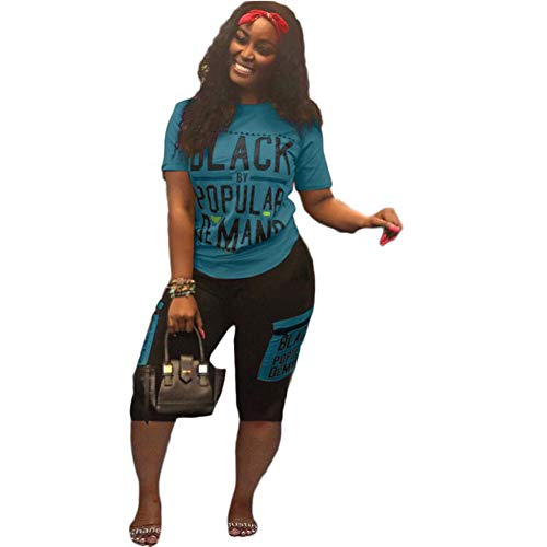Womens 2 Piece Sports Outfits Set - Shirt Top Bodycon Pants Joggers Sportwear Jumpsuits Tracksuit Blue XL