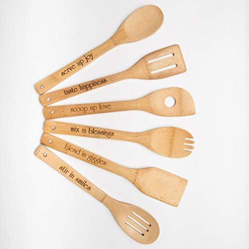 set di utensili da cucina in legno per uso quotidiano o Housewarming regali di Natale Birthday Thinking of you Gift /Set di 6/utensili da cucina in bamb/ù con incisioni handles Bamboo Utensils set/