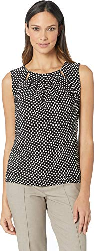 (Tommy Hilfiger Women's Printed Bead Neck Knit Top Black/Ivory Large)