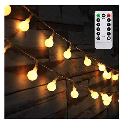 (AMARS 16.4ft LED Globe String Lights Battery Operated with Remote Controller Warm White 50 Bulbs Indoor Bedroom Hanging Ball Fairy Light for Tapestry, Party, Patio, Outdoor, Wedding (8 Modes,)