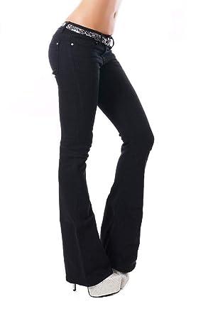 628ac5d03a240 Noir Triple XXX Women s Hipster Low Rise Bootcut Jeans Black UK 4-12 ...